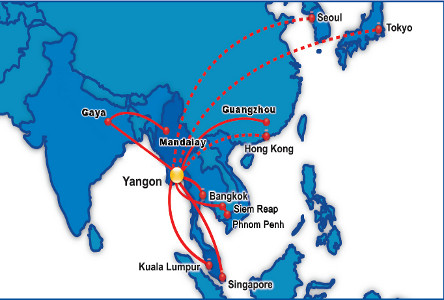 Rutas de Myanmar Airways